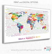 World Map Canvas by World Map With Quote Wonderful World Word Art Inspirational