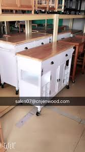 american style bamboo top foldable white kitchen island rolling