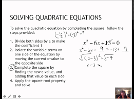 17 solving quadratics completing the square 1 4 youtube
