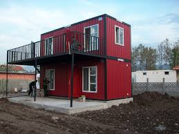 decor red conex box houses with full glass windows for home