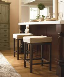 backless white fabric cushioned bar stools combined classic