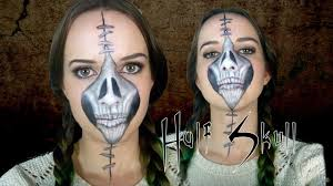 dead makeup halloween half stapled skull halloween day of the dead makeup tutorial