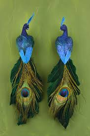 Silk Peacock Home Decor by Peacock Birds Set Of Two 11