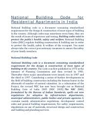 national building code for residential apartments in india