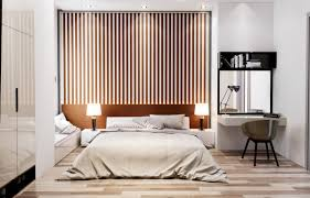 25 beautiful examples of bedroom accent walls that use slats to