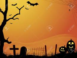 sunset halloween scene with cemetery royalty free cliparts