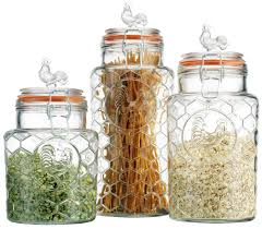home essentials glass rooster kitchen canister set 3 pc
