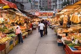 image of a street market or an open market