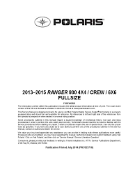 9925718 2014 polaris ranger 6x6 service manual transmission