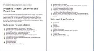 Preschool Resume Template Preschool Teacher Assistant Job Description Resume Resume For