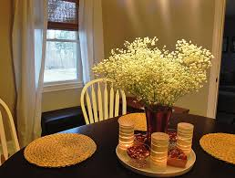 Ideas For Dining Room Table Decor by Dining Room Glass Vase Of White Flowers And Stained Glass Candle