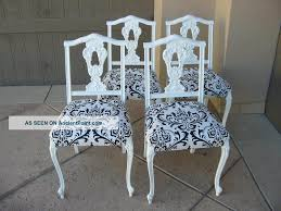 Black And White Dining Room Chairs Set Of Four Vintage French Provincial Black And White Damask