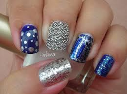 nail art eclectic blue mix match manicure decoracion de uñas