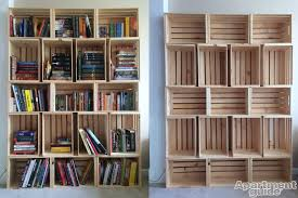 Building Wood Shelves For Storage by Storage Made Simple Diy Wooden Crate Bookshelf Apartmentguide Com