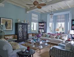 Exposed Beam Ceiling Living Room by Living Rooms Baby Blue Walls Black Armoire Armchair Sofa Exposed