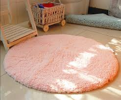 Round Bathroom Rugs by Soft Pink Shaggy Round Rug Design For Simple Bathroom Ideas With