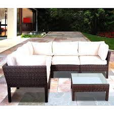 White Resin Wicker Outdoor Patio Furniture Set - atlantic infinity 5 person resin wicker patio sectional set