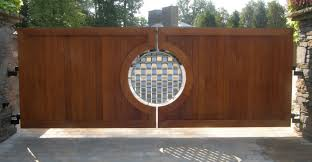 Front Entry Way by Mesmerizing Rounded Artwork Panels Wooden Driveway Gates As