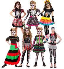 Kids Skeleton Halloween Costume by Day Of The Dead Girls Fancy Dress Halloween Skeleton Skull Kids