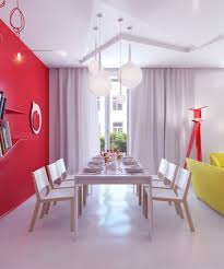 Dining Room Wall Decor Dining Room Futuristic Shape Dining Space Decor With Red And