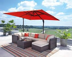 renway beige brown outdoor sectional sofa with table ottoman umbrella
