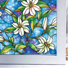 stained glass door film flowers painted decorative stained glass window film glass door