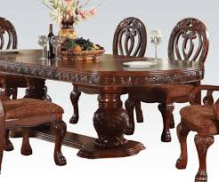 Acme Furniture Dining Room Set Acme Quinlan Oval Shaped Double Pedestal Table In Cherry 60265 By
