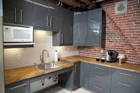 brick kitchen countertops classic white subway tile backsplash