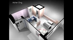 One Room Apartment Floor Plans 1 Room Hdb Flat Corner 1 Studio Apartment 1sa Model 3d Render