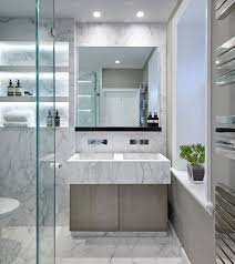 white marble bathroom in a home in yorkshire uk designed by fiona