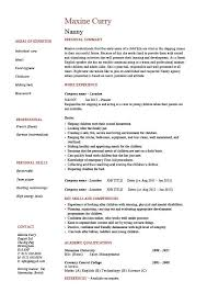 Examples Of Professional Summary For Resume by Nanny Resume Example Sample Babysitting Children Professional