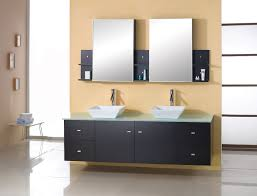 enticing wall mounted vessel sink vanity in black with rectangle