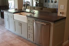 freestanding wood kitchen cabinet with apron sink also modern