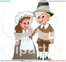 pilgrims on thanksgiving cartoon of a thanksgiving pilgrim couple on a farm border