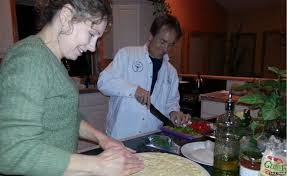 Pia and Dale cooking pizza together