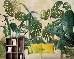 popular tropical wall murals buy cheap tropical wall murals lots beibehang photo wall mural wallpaper retro tropical rain forest palm banana leaf living room tv wall