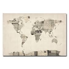 World Map Canvas by Amazon Com Trademark Fine Art Vintage Postcard World Map By