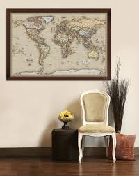 World Map Pinboard by Framed Maps Wood And Aluminum Frames For Wall Maps