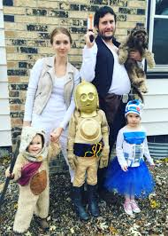 star wars family costumes c3po r2 ewok chewy the dog hans and
