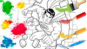 coloring pages superman drawing cartoon art colours for kids