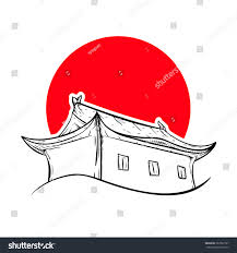 chinese house red sun asian house stock vector 387962797