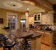 rustic kitchens white bar stools seats backrests wooden walls
