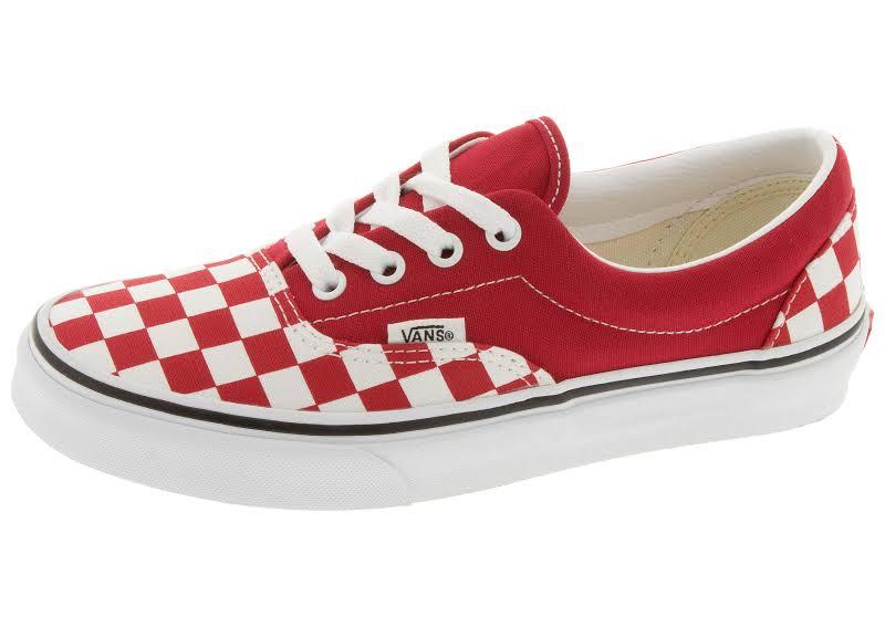 Vans Era (Checkerboard Racing Red/True White) Skate Shoes-9