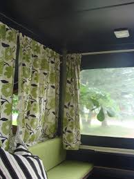 Pop Up Camper Interior Ideas by Pop Up Trailer Love The Green Vintage Flower Curtains With Black