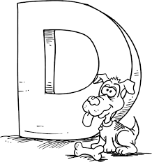 colouring page of a cartoon letter d with a dog pk k