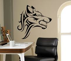Wolf Mural by Tribal Wolf Wall Decal Beast Wild Animal Vinyl Sticker Home
