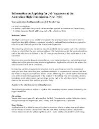 Resume Application For Job by Information On Applying For Job Vacancies At The Australian High Comm U2026