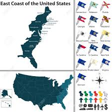 United States Map Delaware by Vector Set Of East Coast Of The United States With Flags And