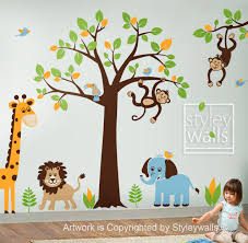 children wall decal safari tree decal jungle animals decal huge animal wall decals