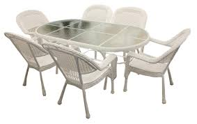 7 piece white resin wicker patio dining set 6 chairs and 1